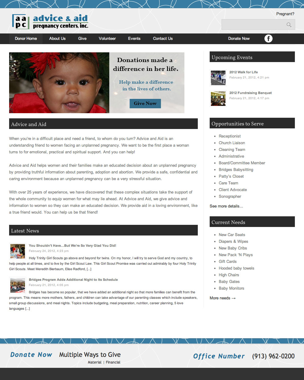 Advice and Aid Pregnancy Centers Donors Website Development