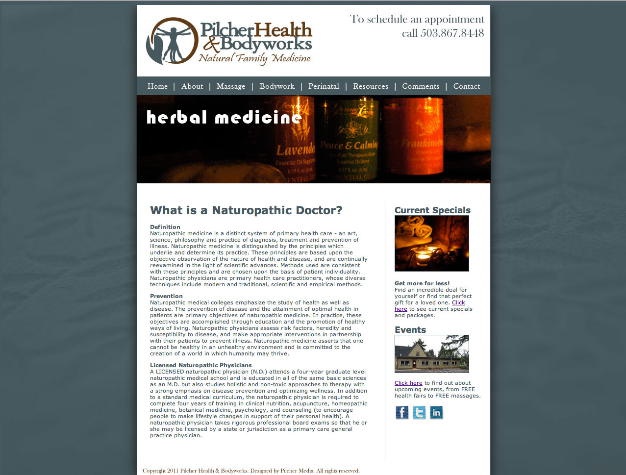 Pilcher Health and Bodyworks Website Design and Development