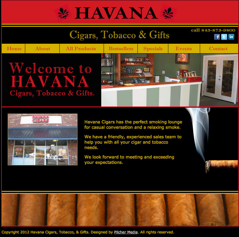 Havana Cigars, Tobacco and Gifts Website Design and Development
