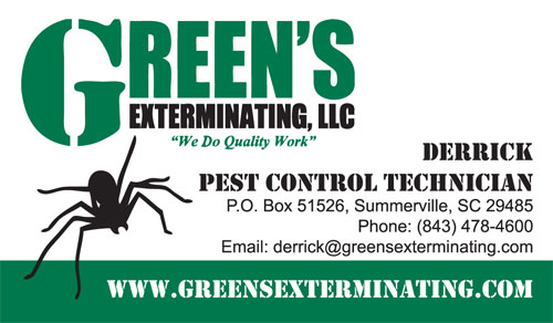 New Business Cards for Green's Exterminating