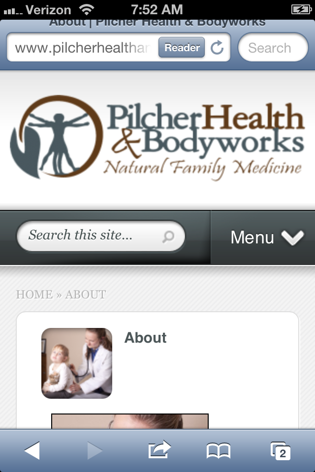 Mobile Website for Pilcher Health and Bodyworks