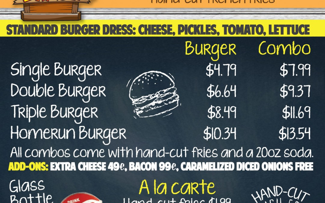 New Menu Designs for Tay's Burger Shack in North Kansas City