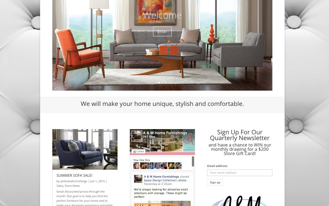 New Website For A M Home Furnishings In Overland Park Pilcher Creative Agency