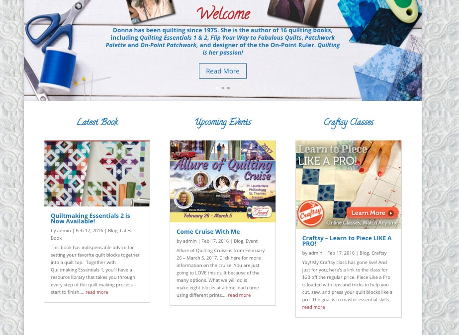New Website & Business Cards  for Donna Lynn Thomas Quilter
