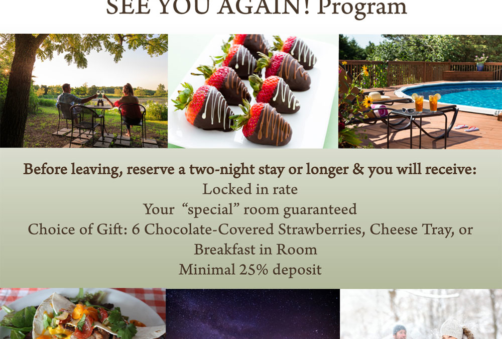 "New ""See You Again"" Rack Cards for Cedar Crest Lodge in Pleasanton, KS"